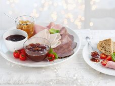 Ham platter with various sauces