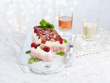Semi freddo with raspberries, white chocolate and pistachios