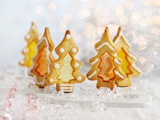 Christmas tree biscuits with sugar windows