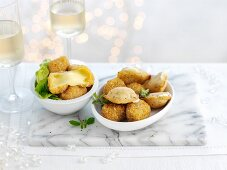 Deep-fried cheese balls and white wine for Christmas