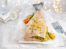 Poached salmon with dill and lemon zest for Christmas