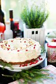 Christmas cake with cream cheese frosting