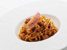 Bowl of Linguini Tossed with Lobster Meat