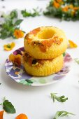 Pumpkin rings with tufted pansies