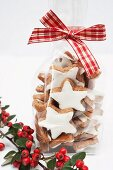 Cinnamon stars in a cellophane bag as a Christmas gift