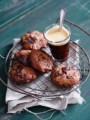 Chocolate chip cookies and a glass of coffee