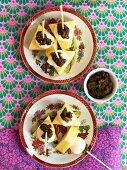 Pineapple with mozzarella and coriander paste