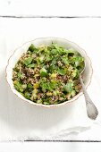 Quinoa salad with cucumber, cos lettuce and herbs