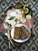 Herring salad, wholemeal bread and schnapps (Christmas)