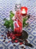 Homemade cranberry schnapps as a Christmas present