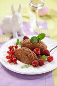 Chocolate mousses with berries for Easter