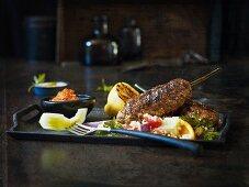 Minced lamb kebab with tabbouleh