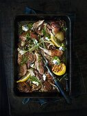 Braised lamb with lemons, garlic and goat's cheese