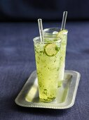 Two glasses of lime and mint lemonade