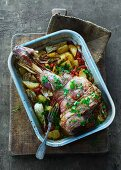 Leg of lamb with braised vegetables