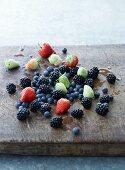 Fresh summer berries on a chopping board