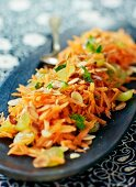 Oriental carrot salad with grapes