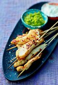 Chicken kebabs with chili, apricot and coconut