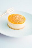 Passion fruit tartlet with icing sugar
