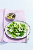 Steamed broad beans and asparagus with pesto and Parmesan