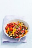 Ratatouille with steamed vegetables and meatballs