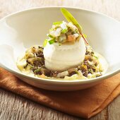 Fish roll on a lentil and chicory medley