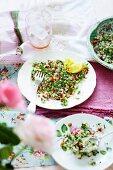 Quinoa and almond tabbouleh