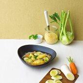 Minestrone with polenta dumplings