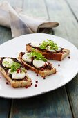 Crispy white bread with olive tapenade and mozzarella