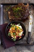 Roast wild boar with chanterelle mushrooms and mashed potatoes