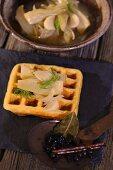 Marinated fennel on a corn waffle