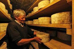 A man checking the ripeness of cheese, Bleu de Termignon