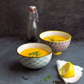 Ginger and pumpkin soup with coconut milk
