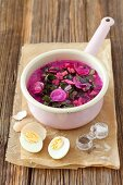Cold beetroot soup with beetroot lives, radishes, cucumber, dill and kefir