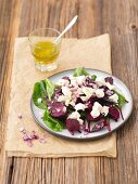 Warm beetroot salad with feta cheese and red onions