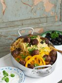 Meatballs with couscous and mint yoghurt