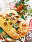 Focaccia with chanterelle mushrooms