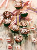Creamy caramel confectionery with chopped mint bonbon