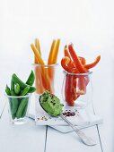 Vegetable crudités with a pea and chilli dip