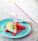 Rhubarb compote with ginger ice cream