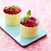 Berry sorbet with peppermint leaves