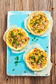 Puff pastry tartlets with tuna and sweetcorn