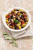 Mixed marinated olives with garlic, mustard and chilli