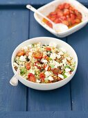 Fregola (Sardinian pasta) with roasted tomatoes and sheep cheese