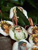 Meringue Christmas tree ornaments decorated with old-fashioned pictures