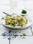 Pasta with mascarpone, Gorgonzola, herbs and walnuts