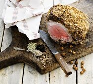 Leg of lamb with a spicy hazelnut crust