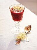 Elderflower jelly in a dessert glass