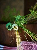 Poppy seed heads and flower spikes in a wooden bowl