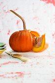 A stuffed pumpkin, sliced
